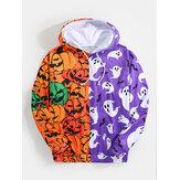 Mens Halloween Patchwork Allover Pumpkin Print Pouch Pocket Hoodies