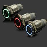12v 19 milímetros botão de pressão momentânea alternar interruptor à prova de água