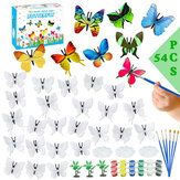 54pcs/set DIY Painting Butterflies Hand-painted Paint Art Crafts Graffiti Pigment Set Kids Children Educational Toys