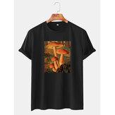 Erkek Mantar Poster Grafik Baskı İnce O-Boyun Kısa Kollu T-Shirt