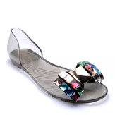 Women Summer Chic Beach Sandals Peep Toe Flat Rhinestone Shoes
