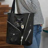 Women Canvas Cute Three-dimensional 3D Black Cat With Flower Pattern Shoulder Bag Handbag Tote