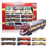 I giocattoli elettrici del veicolo della ferrovia del treno Classic hanno messo il regalo educativo dei carrelli leggeri di musica della pista
