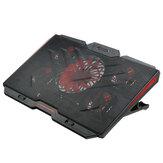 Refrigerador de laptop para jogos, cinco ventoinhas, 2 portas USB 2400RPM Laptop Cooling Pad Suporte para notebooks de 12 '' a 17 ''