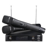 UHF 220-270MHz Wireless Microphone System Receiver Dual Mic Handheld Cordless KTV Stage