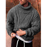 Sweater Pullover Kasual Lengan Panjang Mens Rib-Knit High Neck Solid