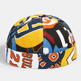Banggood Design Men Contrast Color Graffiti Modello Berretto senza tesa Landlord Cap Skull Cap