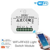 MoesHouse Mini DIY WiFi RF433 Smart Relay Switch Module Smart Life / Tuya App Controle voor Alexa Google Home 1 Gang 1/2 manier