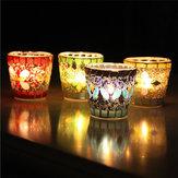 Handwerk Mosaic Glass Beads Sequin Candle Stick Candle Holder Kandelabra Home Decor Gift