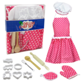 13Pcs Apron Kids Cooking Baking Set Kitchen Girls Toys Chef Role Play Children Costume Pretend Play Set Improve Practical&Thinking Ability