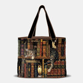 Women Cute Nap Cat Bookshelf Literary Works Pattern Decoration Shoulder Bag Handbag Tote