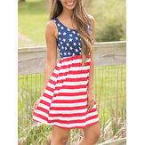 America Flag Print Independence Day Sem mangas Casual Midi Dress
