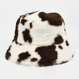 Unisex Lamb Hair Soft Warm Casual All-match Cute Cow Pattern Bucket Hat