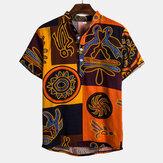 Etnische patroon bedrukte korte mouwen casual shirts voor mannen