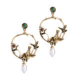 Trendy Vivid Pearl Earrings with Bird on The Tree Irregular