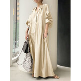 Women Puff Sleeve Stand Collar Solid Color Swing Shirt Casual Maxi Dress With Pocket