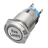12V 19mm 5 Pin Silver Fire Lasers Interruptor de botón de metal luz LED Momentary