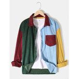 Corduroy voor heren Colorful Patchwork casual overhemd met lange mouwen en knopen