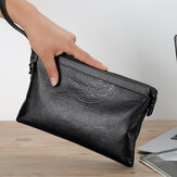 Men Faux Leather Large Capacity Casual Business 6.5 Inch Phone Bag Clutch Purse Bag With Waist String