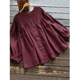 Plus Size Vintage Long Sleeve Button Down Front Blouse