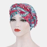 Mujer Flower Turbante Sombrero Algodón Casquillos de cabeza transpirables ocasionales