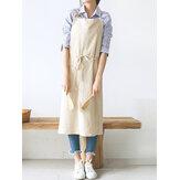 Japanische Stil kurze reine Farbe Baumwolle Leinen Schürzen