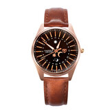 YAZOLE 368 Creative Sun Moon Pattern Leather Strap Men Quartz Watch