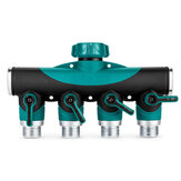 3/4 Inch Garden Hose 4 Way Splitter Water Pipe Faucet Shut Off Valve Connector US Standard Thread