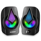 ELEGIANT PC Speakers 2.0 USB Powered Stereo Volume Control with LED Light Mini Portable Gaming Speakers 3.5mm for PC Cellphone Tablets Desktop Desktop Laptop