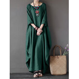 L-5XL Kasual Wanita Longgar Warna Solid Baggy 3/4 Lengan Maxi Dress