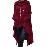 Phụ nữ giản dị màu rắn trùm đầu không đều áo hem