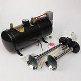 Air Horn Kit Two-Trumpet w/110 PSI 12-Volt Compressor Tank&Gauge