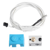 V6 PT100 Aluminum Block Silicone Case Kit with 2m Thermistor Wire for 3D Printer