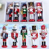 5 Pcs 12 CM De Madeira Nutcracker Soldado Artesanato Noz Fantoche Decorações de Natal Presente