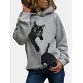 Women Cute Black Cat Print Daily Casual Pullover Hoodie