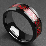 Ethnic Carbon Fibre Finger Red Dragon Pattern Rings dla mężczyzn