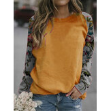 Damen Blumen Patchwork Raglan Ärmel Casual Relaxed Fit Round Neck Sweatshirt
