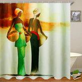 3D Badkamer Douchegordijn Afrikaanse Vrouw Douchegordijn Zwart Meisje Badkamer Waterdicht Polyester voor Bad Decor 12 Haken