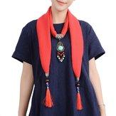 エスニック女性ネックレス多機能コットンスカーフボヘミアンターコイズビーズタッセルファッションアクセサリー