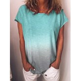 S-5XL Women Gradient Casual Crew Neck Short Sleeve Blouse