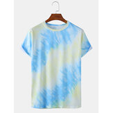 Mens Tie-Dye Print Light Casual Round Neck Short Sleeve T-Shirts