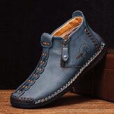 Hommes de couture à la main en cuir antidérapant anti-collision orteil bottines décontractées