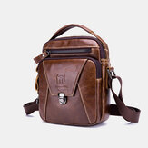 Bullcaptain Men Genuine Leather Anti-theft Multi-Layers Casual Crossbody Bag Shoulder Bag