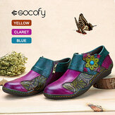 SOCOFY Printing Splicing Plant Pattern Hook Loop Flat Leather Shoes
