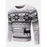 Mens Christmas Modello Round Collo Sottile Maglione lavorato a maglia casual