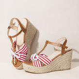 Women Espadrilles Striped T-Strap Cross Strap Casual Beach Wedge Sandals