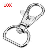 10Pcs 40mm Silver Zinc Alloy Swivel Lobster Claw Clasp Snap Hook with 16mm D Ring