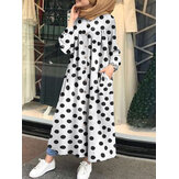 Women Polka Dots Printed Side Pockets Button Down Front Loose Robe Maxi Dress