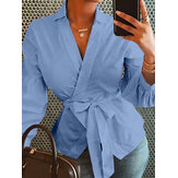 Long Sleeve Lapel Belt Solid Color Causal Blouse