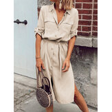 Women Daily Office Solid Color Lapel Casual Shirts Dress